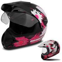 Capacete Fechado Motocross Feminino EBF Super Motard Fada Forro Antialérgico Viseira e Entrada de Ar - Ebf Capacetes