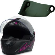 Capacete Fechado para Moto Gt2 Tam 60 Rosa + Viseira Fumê - Fw3