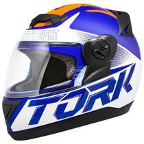 Capacete Fechado Pro Tork Evolution G7 Azul E Laranja Brilhante -