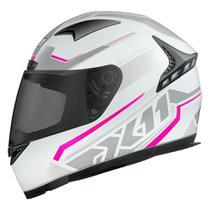 Capacete Fechado X11 Volt Dash Branco/Rosa Moto Motociclista ( T-64 ) -
