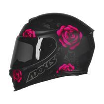Capacete Feminino Axxis Eagle Flowers Preto Fosco/ Rosa -