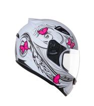 Capacete feminino EBF New Spark Borboletas branco/rosa -