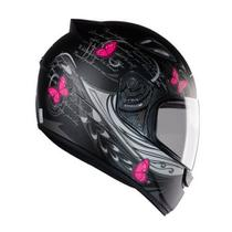 Capacete feminino EBF New Spark Borboletas preto fosco/rosa -