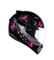 Capacete feminino EBF New Spark Borboletas preto/rosa -