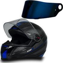 Capacete Fw3 Moto Fechado Gt1 Azul Tam 58 + Viseira Azul -