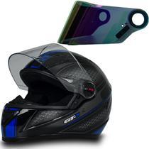 Capacete Fw3 Moto Fechado Gt1 Azul Tam 58 + Viseira Camaleão -