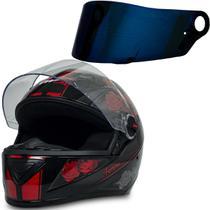 Capacete Fw3 Moto Gt Femme Preto Vermelho 58 + Viseira Azul -