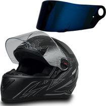 Capacete Fw3 para Moto Gt2 Preto Fosco Tam 56 + Viseira Azul -