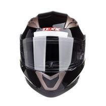Capacete Gladiador Moto Texx Gladiator Articulado Robocop Preto Brilhante - 58 -