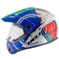 Capacete helt cross vision italy azul -