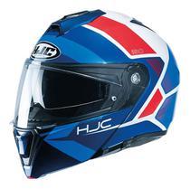 Capacete Hjc I90 Hollen Articulado Viseira Solar Azul Bmw -