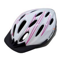 Capacete M Branco E Rosa Para Ciclismo BI124 Átrio -