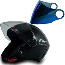 Capacete Moto Aberto Open Classic Preto 58 Viseira Azul - FW3