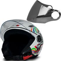 Capacete Moto Aberto X Open Turbo Branco 60 Viseira Cromada - Fw3