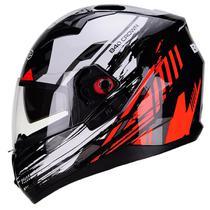 Capacete Moto Bieffe B-40 Crown Preto Brilhante Vermelho -