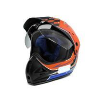 Capacete moto cross EBF Super Motard Grid preto fosco/laranja -