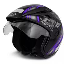 Capacete moto ebf thunder open mandala tam 60 preto brilho/lilás -