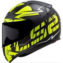 Capacete Moto Fechado LS2 FF353 Rapid Cromo Preto Fosco/Amarelo -