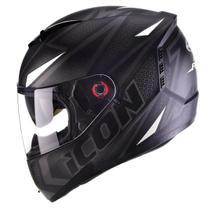 Capacete Moto Fechado Peels Icon Fast Preto Fosco Branco Com Óculos Solar Interno -