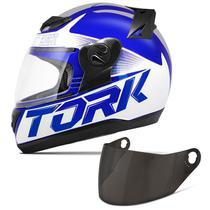 Capacete Moto Fechado Pro Tork Evolution G7 Azul Brilhante + Viseira Fumê -