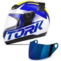 Capacete Moto Fechado Pro Tork Evolution G7 Azul Brilhante + Viseira Iridium -