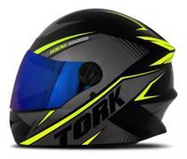Capacete moto fechado r8 amarelo lente iridium - Pro tork
