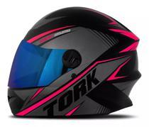 Capacete moto fechado r8 rosa lente iridium - Pro tork