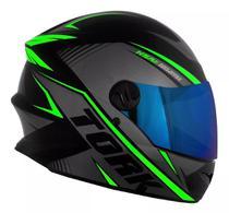 Capacete moto fechado r8 verde lente iridium - Protork