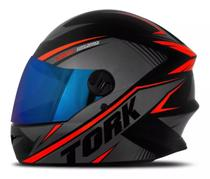 Capacete moto fechado r8 vermelho lente iridium - Pro tork