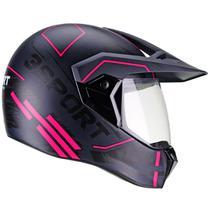 Capacete Moto Feminino Bieffe 3 Sport Drax Azul Fosco Rosa -