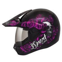 Capacete Moto Feminino Bieffe 3 Sport Fortress Preto Fosco Rosa -