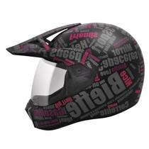Capacete Moto Feminino Bieffe 3 Sport Mirror Preto Brilhante Rosa -