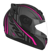 Capacete Moto Feminino Fechado Pro Tork 788 G6 Preto Fosco Rosa -
