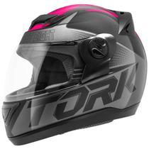 Capacete Moto Feminino Fechado Pro Tork Evolution G7 Preto Fosco Rosa -