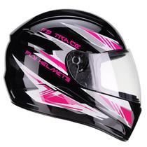 Capacete Moto Feminino Fly F-9 Trace Preto Brilhante Rosa -