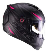 Capacete Moto Feminino Peels Icon Fast Preto Fosco Rosa Com Óculos Solar Interno -