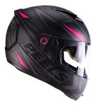 Capacete Moto Feminino Peels Icon Fast Preto Fosco Rosa -