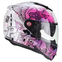 Capacete Moto Feminino Peels Icon Revel Branco Rosa Perolado Viseira Solar -
