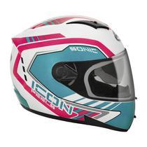 Capacete Moto Feminino Peels Icon Sonic Branco Brilhante Rosa -