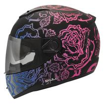 Capacete Moto Feminino Peels Icon Sweet Preto Fosco Rosa Com Óculos Solar Interno -