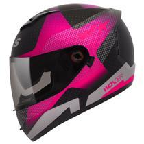 Capacete Moto Feminino Peels Icon Wonder Black Preto Brilhante Rosa -