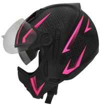 Capacete Moto Feminino Peels Mirage Storm Preto Fosco Rosa Com Óculos Solar -