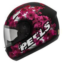 Capacete Moto Feminino Peels Spike Blossom Preto Fosco Flor De Cerejeira -