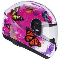 Capacete Moto Feminino Peels Spike Flow Borboletas Branco Brilhante Rosa -