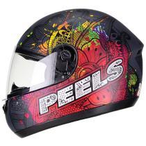 Capacete Moto Feminino Peels Spike Indie Preto Fosco Colorido -