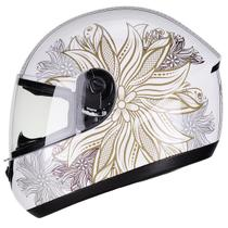 Capacete Moto Feminino Peels Spike Mandala Branco Perolado Brilhante -