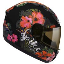 Capacete Moto Feminino Peels Spike Tropical Preto Fosco Flores -
