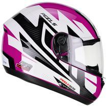 Capacete Moto Feminino Peels Spike Veloce Branco Brilhante Rosa -