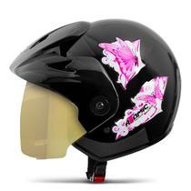 Capacete Moto Feminino Pro Tork Atomic For Girls Viseira Dourada -