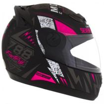 Capacete Moto Feminino Pro Tork G6 Preto Fosco Rosa -